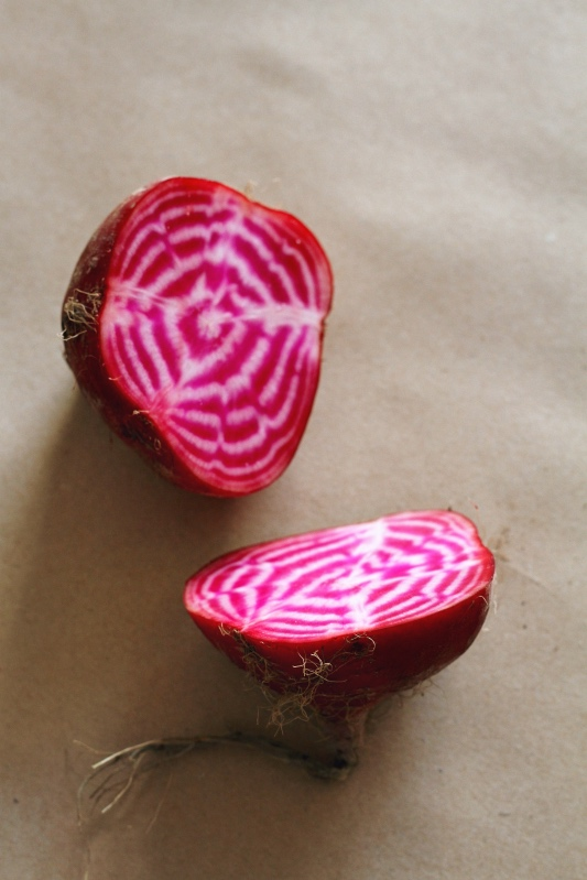 Winter Market Salad with roasted Chioggia beetroot