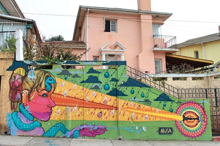 Street art in Valparaiso Chile - mural by Anis