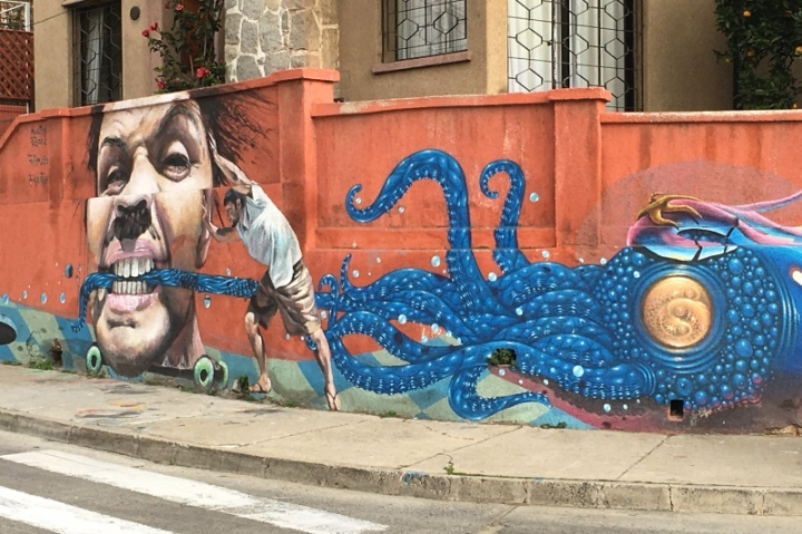 Street art in Valparaiso - mural by Martin Ron