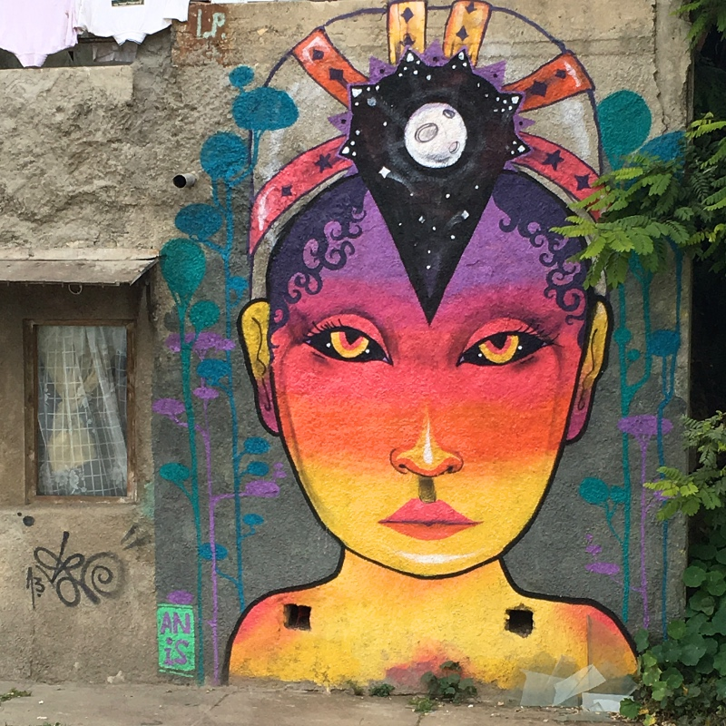 Street art by Anis in Valparaiso, Chile