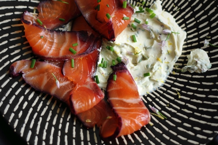 Blackcurrant-cured salmon with herb and lemon cream cheese