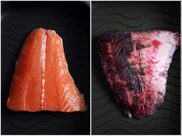Salmon fillet before and after curing with salt, sugar and blackcurrant powder
