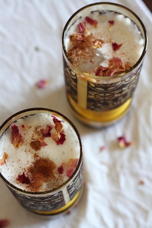 Horchata is a naturally vegan Mexican beverage made with soaked almonds, rice and cinnamon. This recipe includes a touch of rosewater and honey to sweeten and it is deliciously cooling served over ice