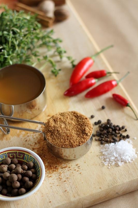 Coconut sugar, chilli, thyme, allspice, salt and pepper